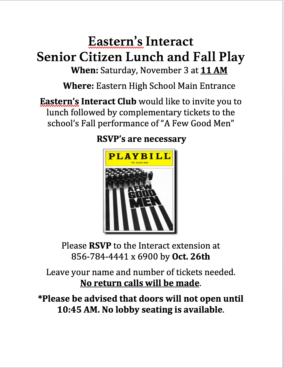 Senior Citizen Lunch and Fall Play Hosted by Interact
